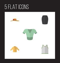 Flat icon garment set of stylish apparel banyan vector