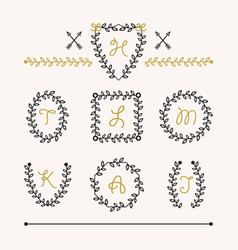 Cute set of black insignia leaves emblems icons vector
