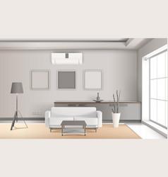 Realistic lounge interior in light tones vector
