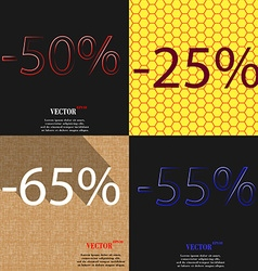 25 65 55 icon set of percent discount on abstract vector