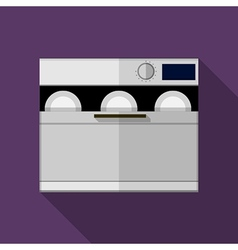 Flat color gray dishwasher machine icon vector