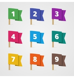 Set of colorful flags with numbers in flat style vector
