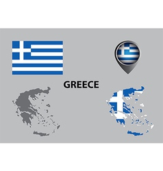 Map of greece and symbol vector