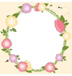 Floral frame set retro flowers wreath wedding card vector