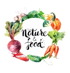 Eco food menu background watercolor hand drawn vector