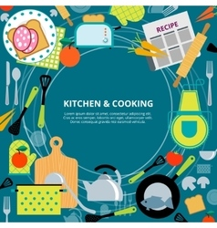 Kitchen home cooking concept poster vector
