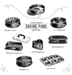 Hand drawn set with bakery pans vector