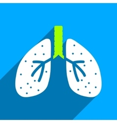 Lungs flat square icon with long shadow vector