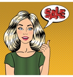 Sale banner woman gesturing great sale pop art vector