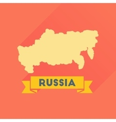 Flat icon with long shadow map of russia vector