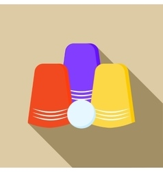 Three game thimbles with a ball icon flat style vector