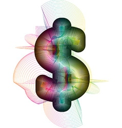 Abstract colorful dollar sign vector