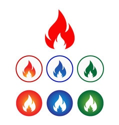 Flame icon set vector