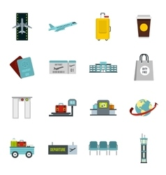 Airport icons set in flat style vector image vector image