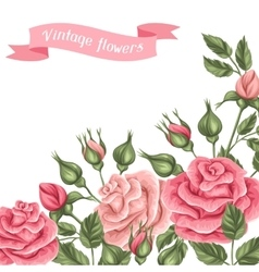 Background with vintage roses Decorative retro vector image vector image
