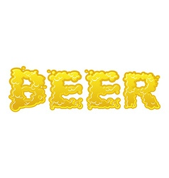 Beer text logo typography Liquid yellow letters vector image
