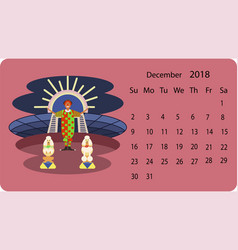 calendar 2018 for december vector image