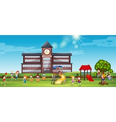 Children playing at the school yard vector