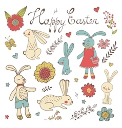 Colorful Easter related elements collection vector image vector image