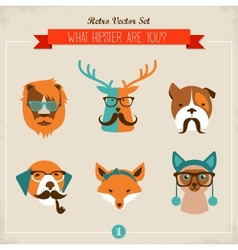 Cute fashion Hipster Animals pets vector image vector image