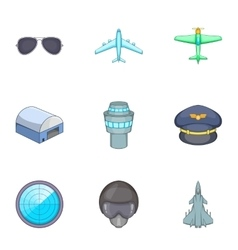 Flight elements icons set cartoon style vector image