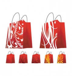 floral shopping bags vector image vector image