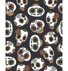 Funny seamless skull pattern for Halloween and Day vector image