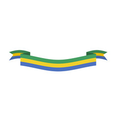 gabon flag ribbon isolated gabonese republic tape vector image