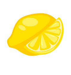 lemon citron whole and half isolated on white vector image