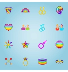 LGBT icons set cartoon style vector image