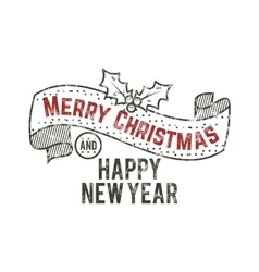 Merry Christmas and happy New Year typography wish vector image vector image