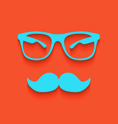 Mustache and glasses sign whitish icon on vector