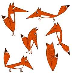Orange fox cute funny cartoon style options vector