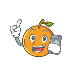Orange fruit cartoon character with phone vector