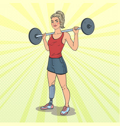 Pop art disabled woman with prosthesis in gym vector