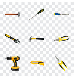 realistic carpenter handle hit chisel vector image vector image