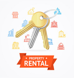 realistic detailed keys to house property rental vector image vector image