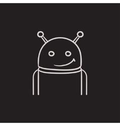 Robot sketch icon vector image