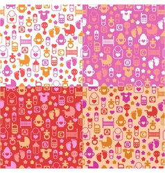 set of color seamless patterns of baby icons vector image vector image