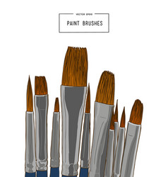 Set of water color brushes artist tools sketch vector