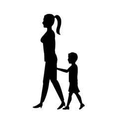 Silhouette woman and her son walking holding hand vector