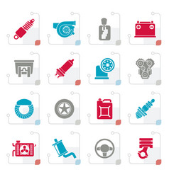 Stylized car part and services icons vector