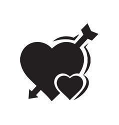 valentines heart mini arrow black icon vector image vector image