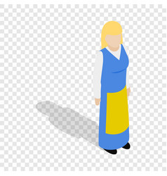 Woman wearing in traditional swedish costume icon vector