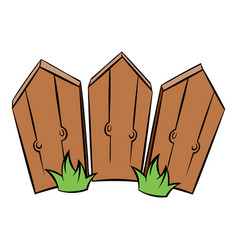 Wooden fence icon cartoon vector