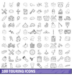 100 touring cons set outline style vector