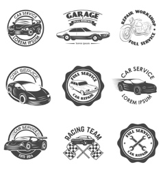 Set of car repair service racing team labels and vector image