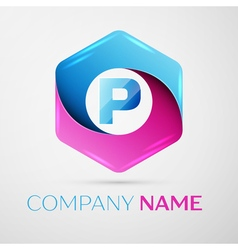 Letter p logo symbol in the colorful hexagonal on vector