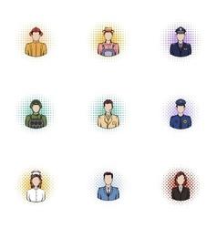 Profession icons set pop-art style vector
