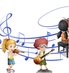 Many kids playing music together vector
